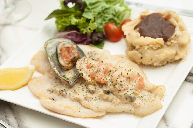 (Fish) Pan Fried Fish with Alscampi Sauce
